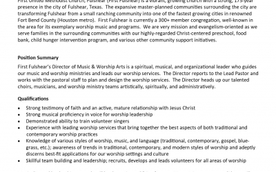 Job Opportunity for Director of Music & Worship