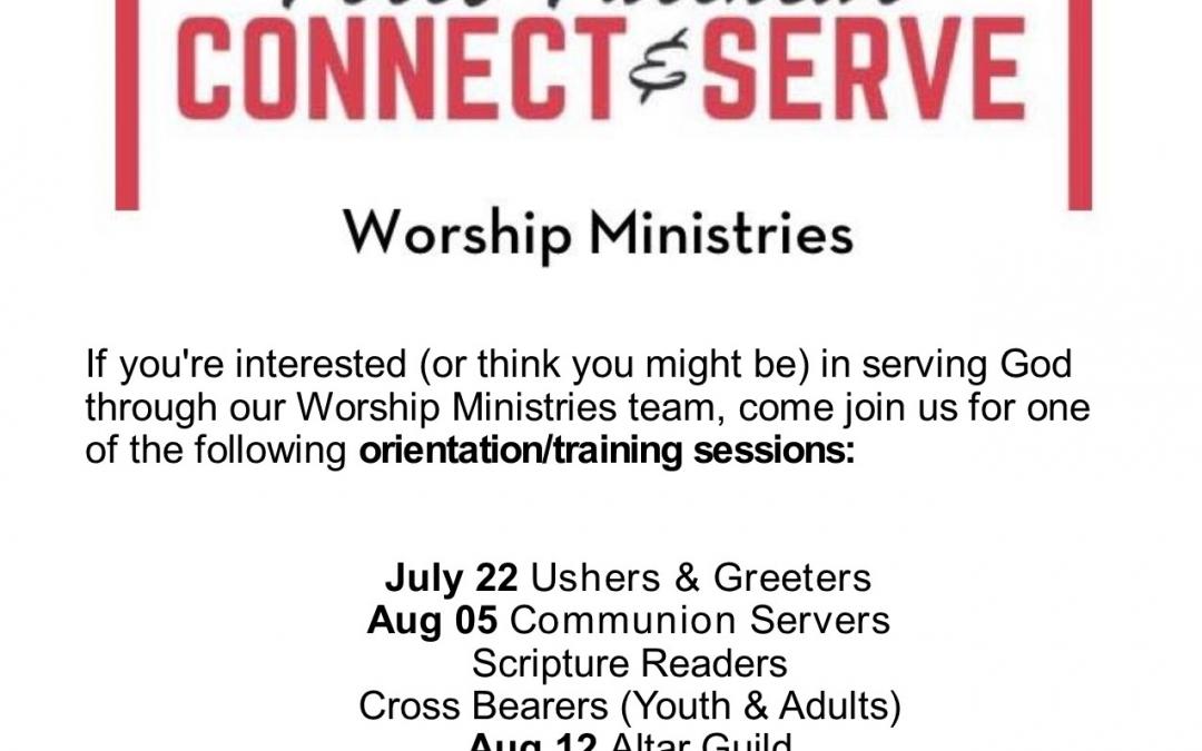 Worship ministries Training Schedule