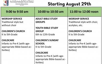 New Sunday Schedule 8/29/2021